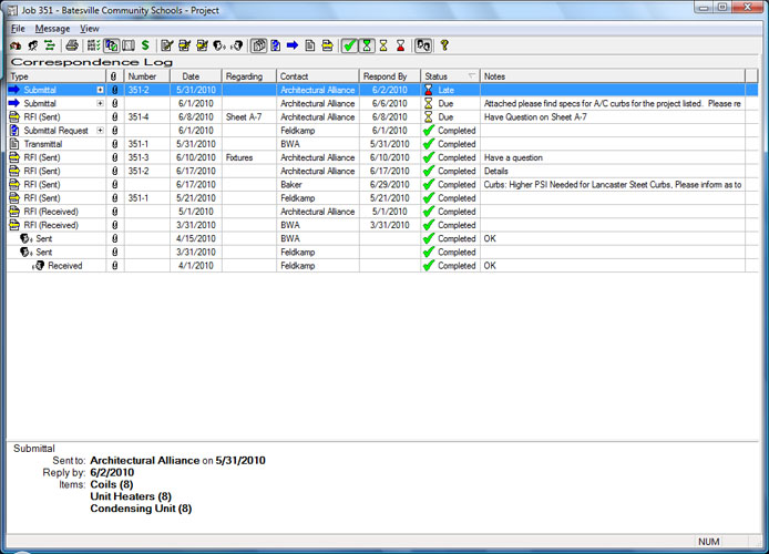 Construction Submittal Log http://www.construction-software.com/Project-Management/Default.aspx